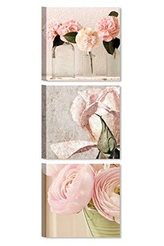 Quadri L&C ITALIA Tris Rose Shabby Chic 2 - Quadri Moderni Soggiorno con Fiori Rosa per Camera da Letto Cucina Bagno 25 x 25 Quadretti da Parete Stampa su Tela