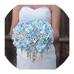 Blue Wedding Bouquet With Rhinestone Pearls & Silk Flowers