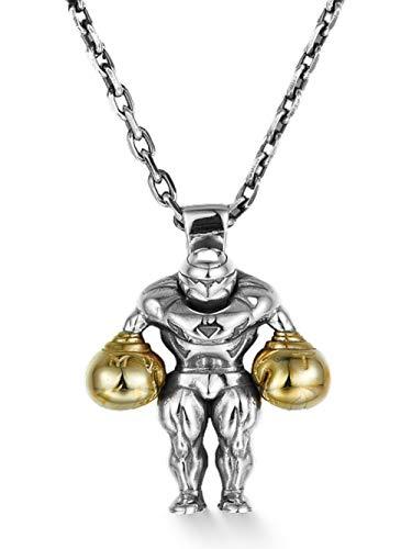 El Mejor Colgante de Boxeo Collar con 66cm / 80cm Encanto Cadena de Cables 925 Plata Hecho a Mano Joyería de Moda Recuerdo Delicado Regalos de Cumpleanos para Hombres, Novio, Marido,80cm
