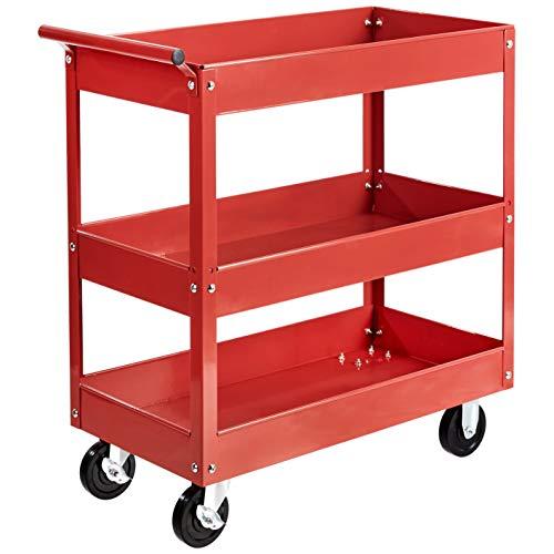Amazon Basics Steel 3-Shelf Multipurpose Tub Utility/Supply Cart with 550-Pound Capacity - Red