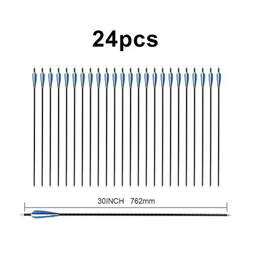 Zhong Bogenschießen 12.06 / 24X 30 Bogenschießen Aluminium Pfeil veränderbare Pfeilspitze Schwarz Wellenpfeile for 30-80lbs Compound Bogen oder Langbogen (Color : 24PCS)