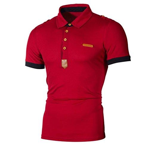 Polo Hemd Herren Casual Slim Top Kurzarm Bluse Kragen T-Shirt GreatestPAK,Rot,L