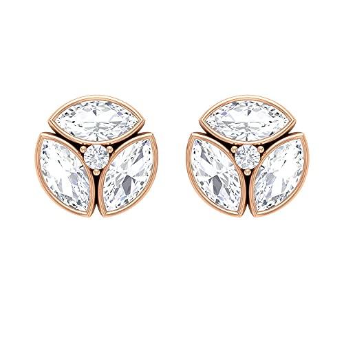 Pendientes de diamante de 3/4 quilates para mujer (diamante talla marquesa de 6 x 3 mm), 14K Oro rosa, Par