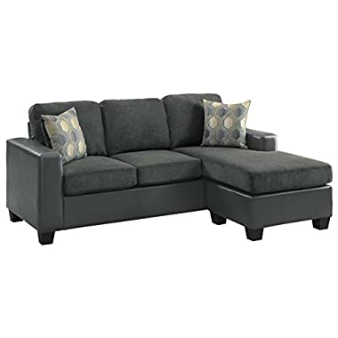 Homelegance Slater Sectional with Reversible Chaise and Accent Pillows, Gray