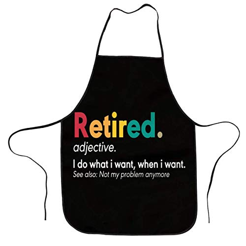 Retired Definition, Funny Retirement Gag Gifts Funny Quotes Apron Funny Bib Aprons For Men Women Kitchen Baking Cooking Apron