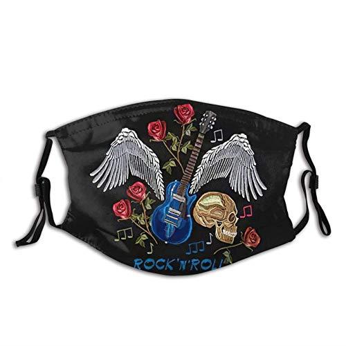 YRUI Pocket Rock N Roll Rock Music Cráneo Alas de guitarra Rosas Música Clásica Art Bandana Pasamontañas, Venta al viento y transpirable, correr, senderismo, ciclismo, correr