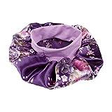 EXCEART Gorro de Dormir Elástico Banda Ancha Floral Impreso Gorra de Noche Maquillaje Cabello Envuelto Beanie Sombrero para Mujeres Damas Púrpura