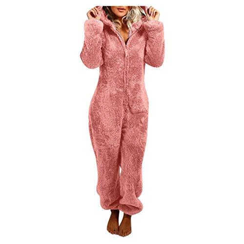Binggong Damen Jumpsuit Winter Warm Kuschelig Einteiler Overall Frauen Teddy Fleece Pyjama Jumpsuits Ganzkörperanzug Hausanzug mit Kapuze Lang Schlafoverall Schlafanzug Cosplay Strampelanzug