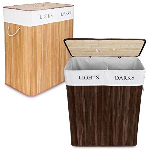 Goods & Gadgets Wäschekorb aus Bambus, 100 L Wäschesammler Wäschebox 2 Fächer, Wäschesortierer mit Wäschesack herausnehmbar, rechteckige Wäschebox 63x52x32cm; Braun