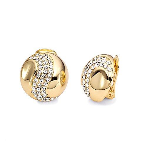 Sincera Schmuck Elegant Damen Ohrringe OHRCLIPS Vergoldet 18K mit Original Swarovsky® Elements 04-16407 (gold)