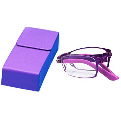 CYY Gafas de Lectura de Bolsillo Rectangular Plegables para Mujeres y Hombres,2.5× Lectores de Computadora de Metal con Bloqueo de Luz Azul,Lentes Compactos con Estuche Portátil