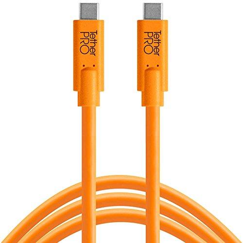 Tether Tools TetherPro 4,6 Meter USB-Datenkabel für USB-C an USB-C (gerader Stecker/orange) - z.B. zum Anschließen Einer Kamera an EIN Notebook