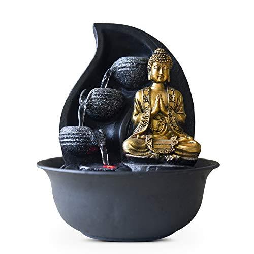 Zen Light Praya Zimmerbrunnen mit Pumpe und LED-Beleuchtung, Kunstharz, Einheitsgröße