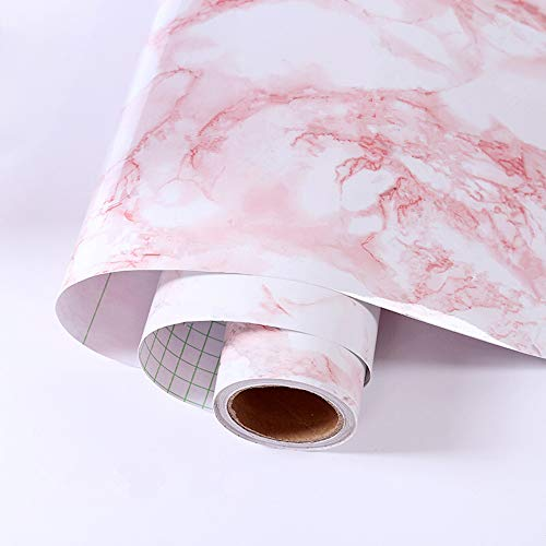 "Pink Marble Contact Paper 11.8""x118""Wallpaper Stick and Peel Self Adhesive Removable Waterproof Wall Covering for Table Countertop Cabinet Drawer Marble Effect Contact Paper Film"