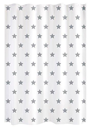 Gelco Design Star Duschvorhang, 180x 200, Polyester, Weiß/Grau, 180x 200x 0,32cm