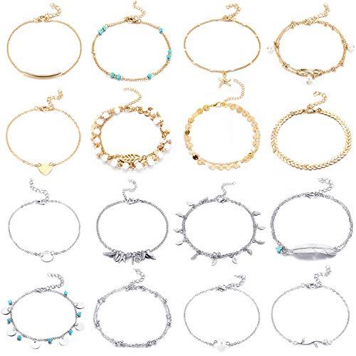 16 Pièces Bracelets de Cheville de Plage Cheville Réglable Chaînes de Cheville Boho Bijoux de Pied Set pour Femmes Filles (Plaqué Argent et Plaqué Or)