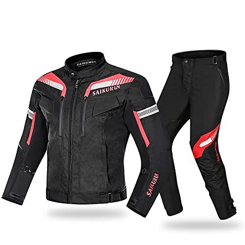 LITI Motocicleta trajes de moto para hombres 2 piezas motocicleta impermeable Cordura tela traje chaqueta pantalones para hombres - todo clima