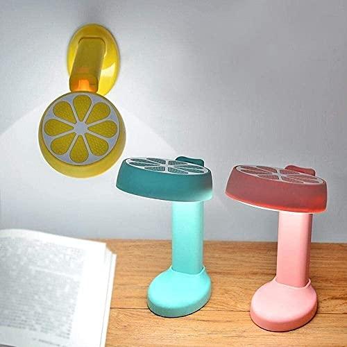 Palm kloset Lámpara de Mesa Lámpara de escritorio LED plegable regulable en forma de limón linda y duradera con puerto USB, interruptor táctil y base adhesiva rosa para decorar dormitorio, sala de est