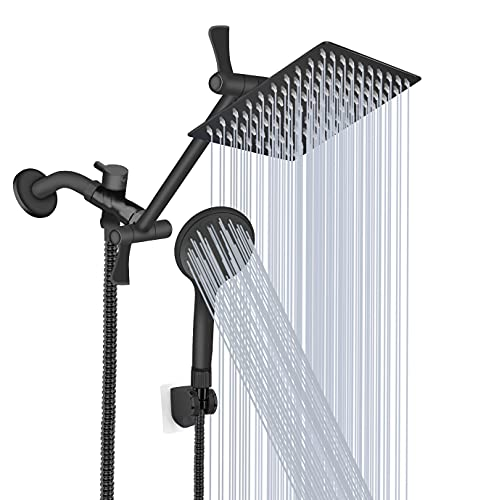 Shower Head, 8'' High Pressure Rainfall Shower Head/Handheld Shower Combo with 11'' Extension Arm, 9 Settings Adjustable Anti-leak Shower Head with Holder, Height/Angle Adjustable, Chrome, Matte Black