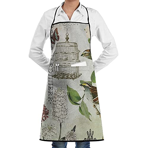 XWJZXS Kitchen Cooking Aprons for Women & man,Waterproof apron,Modern French Birds And Birdcage,Apron with 2 Pockets ,Aprons for Home Kitchen, Restaurant Cooking, Coffee House, BBQ, Garden Using