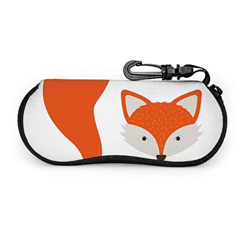Funda Gafas Clver Smart Orange Fox Animal Neopreno Estuche Ligero con Cremallera Suave Gafas Almacenaje