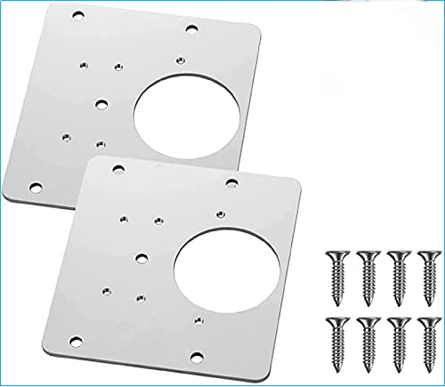 WEBNM Cabinet Hinge Repair Plate with Hole,Stainless Steel Kitchen Cabinet Hinge Repair Kit,Hinge Side Plate Repair Piece with Mounting Screws,Wooden Cabinet Door Hinges for Furniture(2pcs)