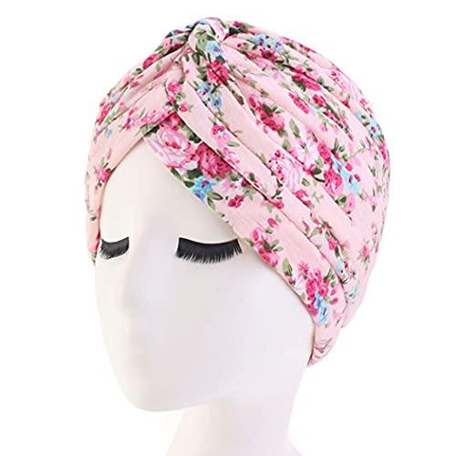 Anjetan Turbante Elástico De Colores Ligeros con Estampado Elástico Suave De Moda Turbante Elástico para La Cabeza para Las Mujeres