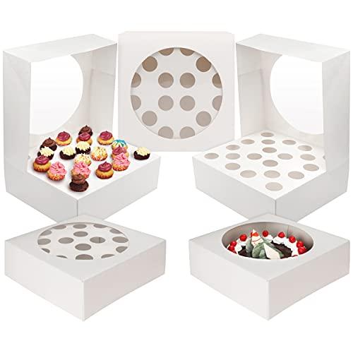 Kurtzy Caja Cupcakes Blancas con Ventana de Plástico Transparente (Pack de 5) Las Cajas Pueden Contener 20 Mini Cupcakes o Una Tarta Grande - Cajas Cupcakes, Magdalenas, Fiestas, Cumpleaños