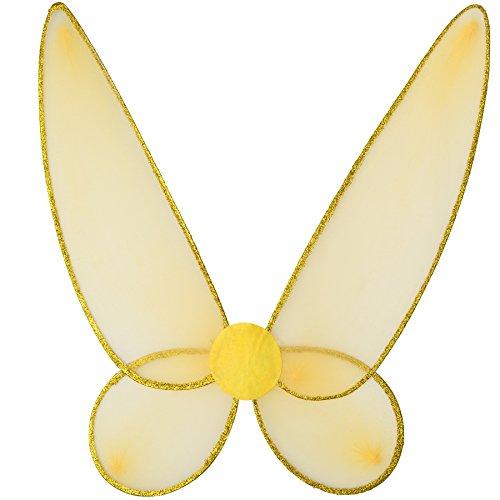 TecTake dressforfun Schmetterlingsflügell in Gold mit Glitzerumrandung auf den Flügeln   inkl. Gummibändern zur Befestigung am Rücken   46,5 x 52 cm