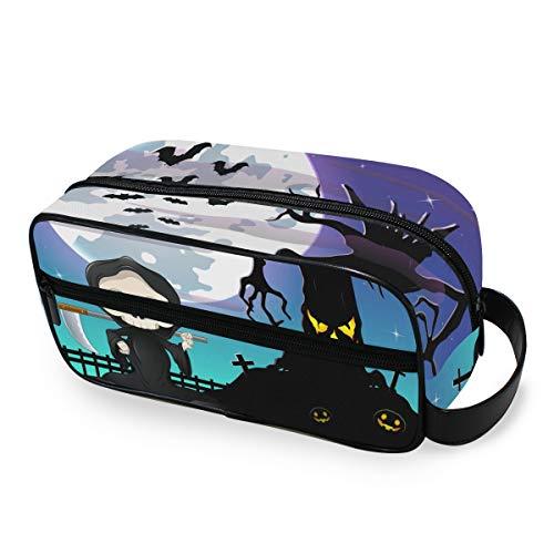 Halloween Moon Skull Pumpkin Makeup Bag Portable Storage Tools Cosmetic Train Case Trousse de toilette Organisateur de voyage