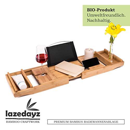 Lazedayz Badewannenbrett aus Bambus, Badewannenablage, Badewannenauflage mit Buchstütze, Badewannentablett mit Glashalter