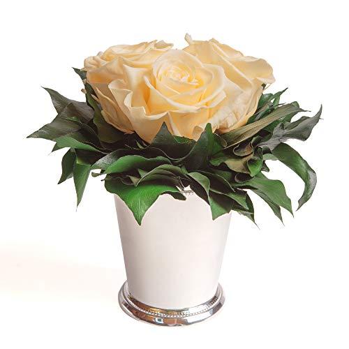 Composition Bouquet Roses Eternelles 3 Roses Conservées Durée de vie 3 ans ROSEMARIE SCHULZ® (Beige)