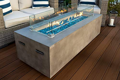 AKOYA Outdoor Essentials 60' Rectangular Modern Concrete Fire Pit Table w/Glass Guard and Crystals in Gray (Caribbean Blue)