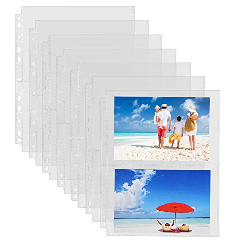 Sooez 30 Pack Heavy Duty Photos or Postcards Page Protectors, Plastic Clear Photo Holder Sleeves for 3 Ring Binder, Two 5'' x 7'' Pockets Per Page, Top Loading Perfect for Checking & Organizing