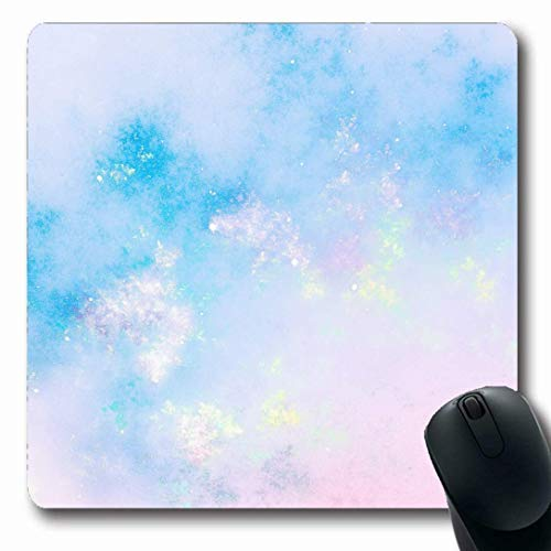 Mousepads für Computer Gauzy Aquarell Frühling Sanftes abstraktes Licht Pastelltöne Opal Blauer Himmel Kristall Mondstein Perle Längliche Form Rutschfeste Oblong Gaming Mouse Pad