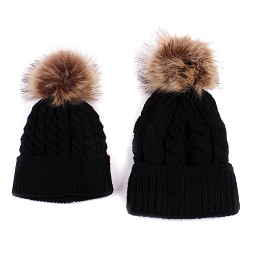 2PCS Parent-Child Hat Warmer, Mother & Baby Daughter/Son Winter Warm Knit Hat Family Crochet Beanie Ski Cap Black