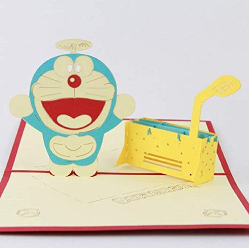 BC Worldwide Ltd Handgemachte 3D Pop Up Geburtstagskarte Japanische Manga Doraemon Roboter Katze Hochzeitstag Karte, Valentines Karte, Vatertagskarte, Muttertagskarte