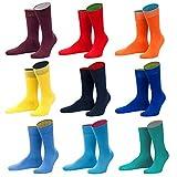 von Jungfeld - bunte Herren Socken / Strümpfe, Multicolor, 9er Pack (rot, orange, gelb, blau, numeric_43)