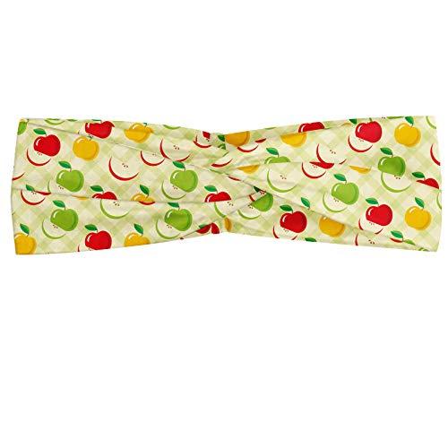 ABAKUHAUS appel Hoofdband, Retro Country Kitchen, Elastische en Zachte Bandana voor Dames, voor Sport en Dagelijks Gebruik, Groen Rood Geel
