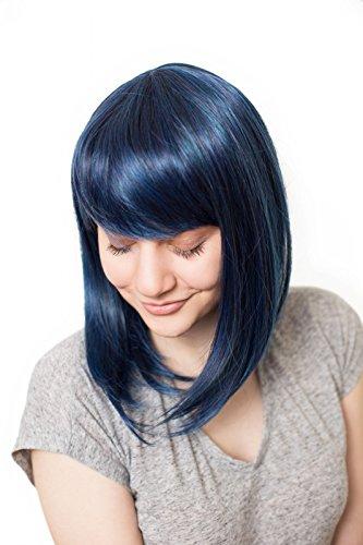 Prettyland Perruque Soyeuse Raide Droite Coupe Moyenne Look Naturel avec Volume lisse Bleu & Noir Mixte C180
