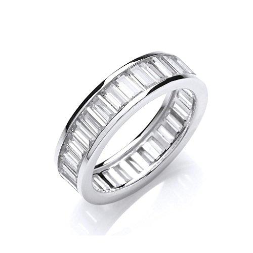 Sterling Silver Channel Set Full Eternity Baguette Cut Cz Ring Size P