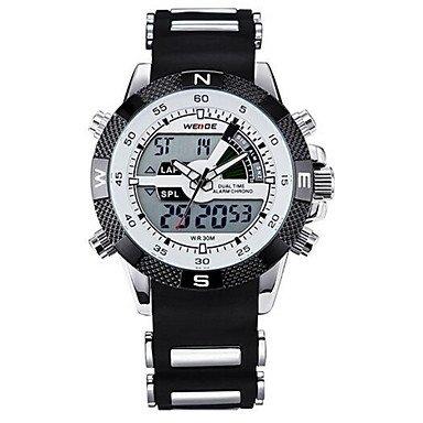 XKC-watches Herrenuhren, Weide® Luxusmarke Militär LCD leuchtende Analog-Digital-Datum Woche Alarmanzeige Sportuhr (Farbe : Weiß, Großauswahl : Einheitsgröße)