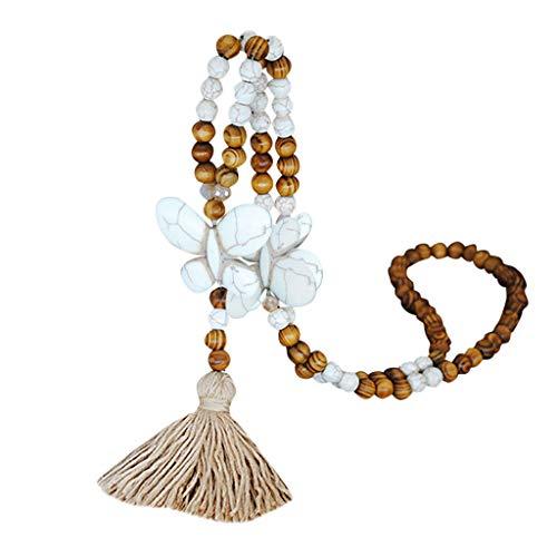 Collar con pompón de cristal para mujer, estilo bohemio, elegante, con colgante de madera atada a mano, collar largo con colgante de cadena de chupito bohemio para mujer y niña