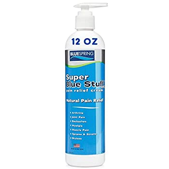 SuperBlue Stuff Pain Relief Cream 12 Ounce Bottle with Pump - Made in USA - Fights inflammation muscle soreness arthritis knee and joint pain - experience quick recovery in less than 5 minutes.
