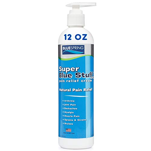 SuperBlue Stuff Pain Relief Cream, 12 Ounce Bottle with Pump - Made in USA - Fights inflammation, muscle soreness, arthritis, knee, and joint pain - experience quick recovery in less than 5 minutes.