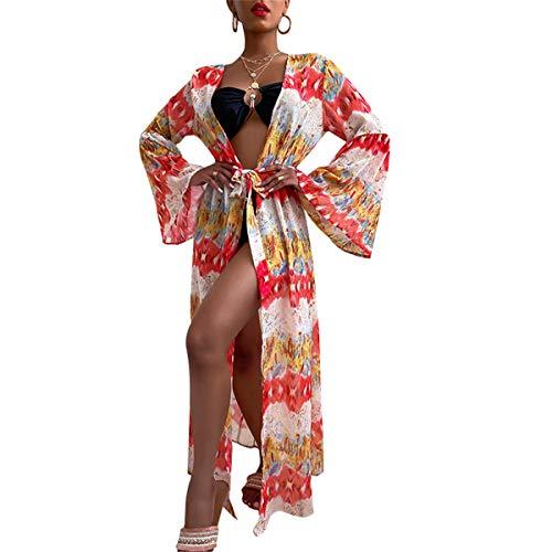 Pareo de Bikini para Mujer Cover Up para Playa Estampado Palmas Cárdigan Largo Mangas Largas Estilo Bohemio Bata Kimono Mujer Playa para Verano (Rojo, XL)
