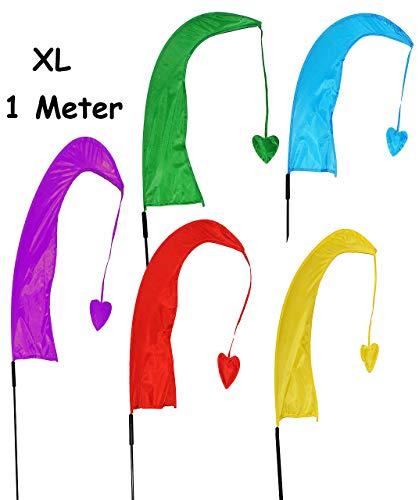 alles-meine.de GmbH 5 TLG. Set: XL - 1 m - Windfahnen / Balifahnen - Bunte Farben - aus Nylon / Flagge Windrichtungsanzeiger - für Außen - Bali Gartenfahne - Gebetsfahne Umbul Um..