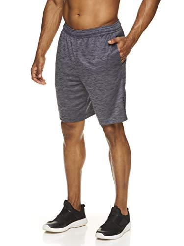 HEAD Men's Workout Gym & Running Shorts w/Elastic Waistband & Drawstring - Agent Cool Grey Heather, Small