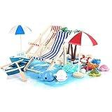 Ulikey 40 Piezas Playa Micro Paisaje, Miniatura Silla de Playa para DIY Figura Decorativa en Miniatura Jardín, para Playa Paraguas, Barco, Silla de Playa, Azul Arena