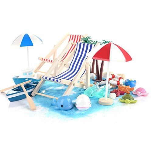 Ulikey 40 Pcs Mikrolandschaft Miniliegestuhl, Miniatur Dekoration Mini-Stranddekorationen, Strandkorb Sonnenschirm Kleine Palme Deko Accessoires für DIY Fee, Garten, Puppenhausdekoration